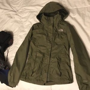 North Face Resolve rain jacket in military green